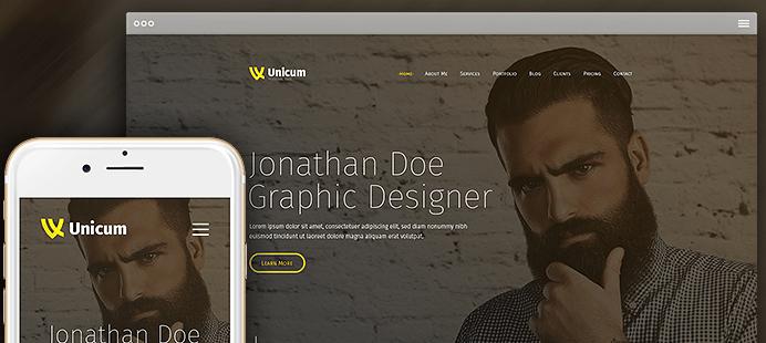 One Page Parallax WordPress theme - Design 2