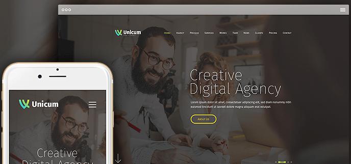 One Page Parallax WordPress Theme - Design 3